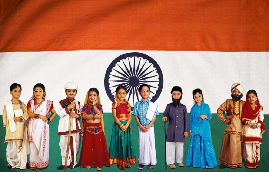 Kids from India with different religions and casts